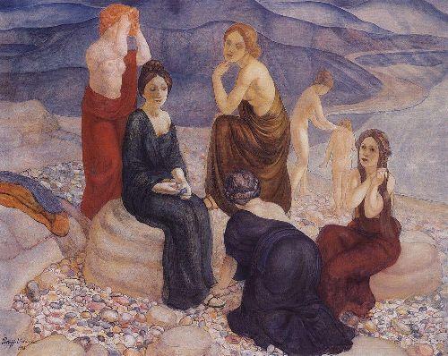 Beach 1908   Petrov Vodkin Kuzma Sergeevich   oil painting