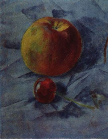 apple and cherry 1917 | Petrov Vodkin Kuzma Sergeevich | oil painting