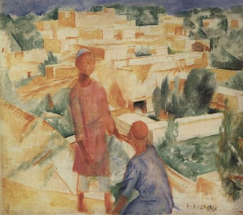 Boys on the background of the city 1921   Petrov Vodkin Kuzma Sergeevich   oil painting