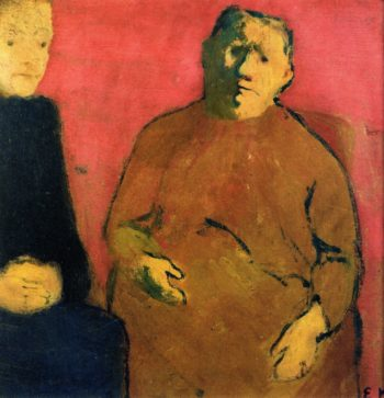 Mother and Daughter against a Red Background | Edouard Vuillard | oil painting