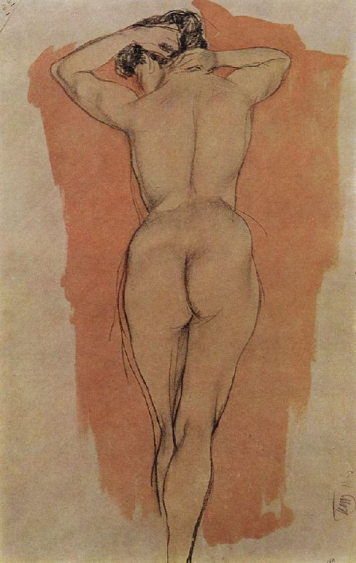 Artists Model from the back 1906   Petrov Vodkin Kuzma Sergeevich   oil painting