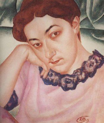 Portrait MF Petrova Vodkin 1913 | Petrov Vodkin Kuzma Sergeevich | oil painting