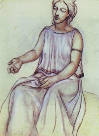 A woman in a chiton 1910 | Petrov Vodkin Kuzma Sergeevich | oil painting