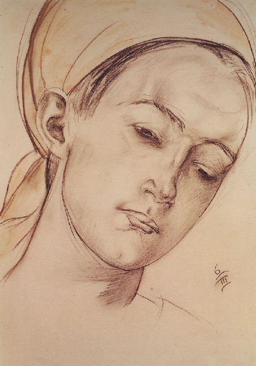 Womens head 1913 | Petrov Vodkin Kuzma Sergeevich | oil painting