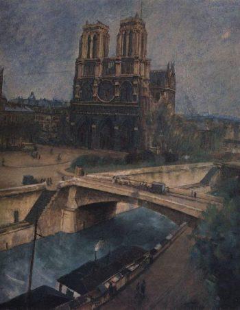 Paris Notre Dame 1924 | Petrov Vodkin Kuzma Sergeevich | oil painting