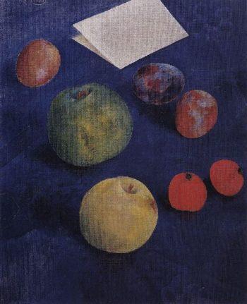 Fruit on a blue tablecloth 1921 | Petrov Vodkin Kuzma Sergeevich | oil painting