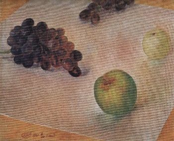 Still Life Grapes and apples 1921 | Petrov Vodkin Kuzma Sergeevich | oil painting