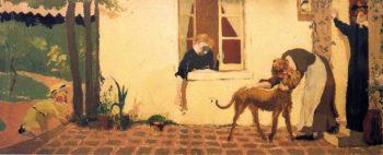Stroking the Dog   Edouard Vuillard   oil painting