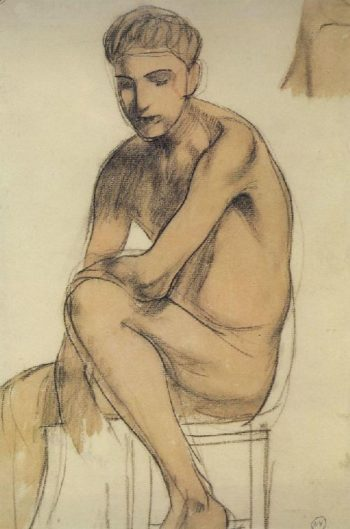 Seated boy 1906 | Petrov Vodkin Kuzma Sergeevich | oil painting