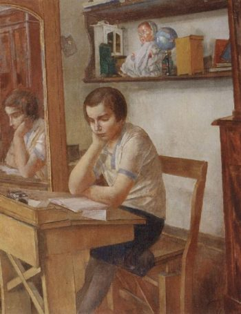 girl at the desk 1934 | Petrov Vodkin Kuzma Sergeevich | oil painting