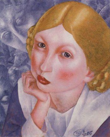 Portrait Rhee Portrait of AA Kholopova 1915   Petrov Vodkin Kuzma Sergeevich   oil painting