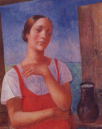 Girl in sarafan 1928 | Petrov Vodkin Kuzma Sergeevich | oil painting