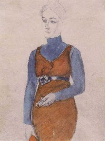 P Portrait of a Woman Late XIX early | Petrov Vodkin Kuzma Sergeevich | oil painting