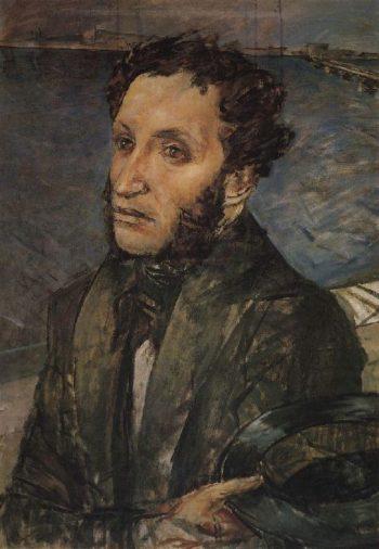 A Pushkin in St Petersburg 1930 | Petrov Vodkin Kuzma Sergeevich | oil painting