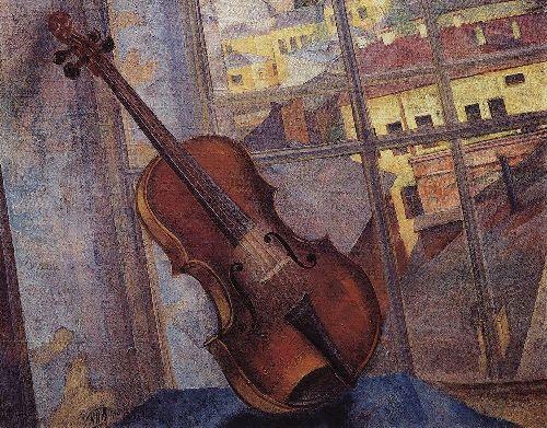 Violin 1918   Petrov Vodkin Kuzma Sergeevich   oil painting