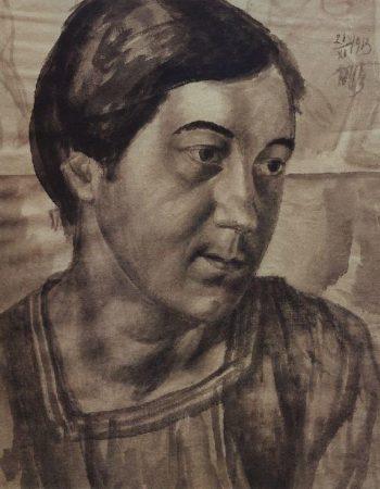 Portrait of the artists wife 1913 | Petrov Vodkin Kuzma Sergeevich | oil painting