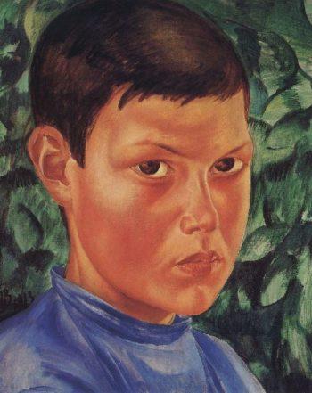 Portrait of a boy 1913 | Petrov Vodkin Kuzma Sergeevich | oil painting
