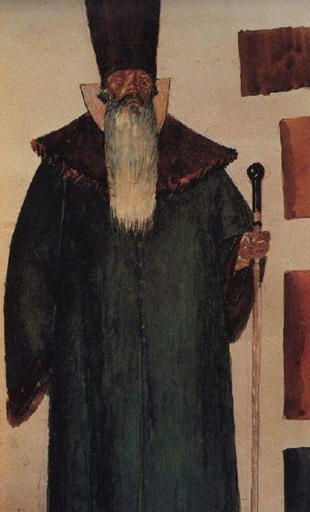 Sketch Boyar to the tragedy of Pushkins Boris Godunov 1923 | Petrov Vodkin Kuzma Sergeevich | oil painting