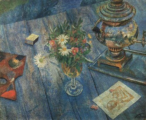 Still Life with Samovar 1920   Petrov Vodkin Kuzma Sergeevich   oil painting