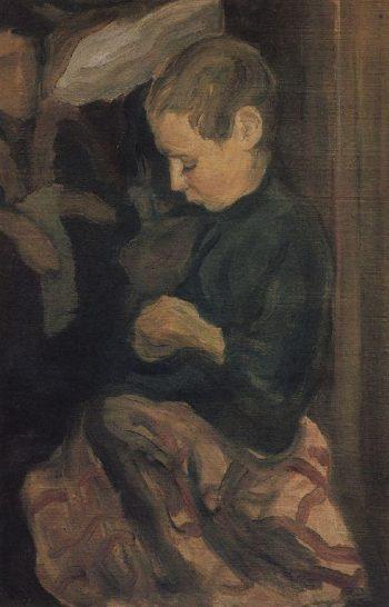 Boy 1900 e | Petrov Vodkin Kuzma Sergeevich | oil painting