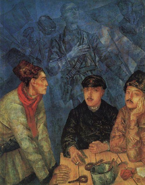 After the battle 1923   Petrov Vodkin Kuzma Sergeevich   oil painting