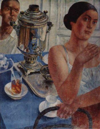 For the samovar 1926 | Petrov Vodkin Kuzma Sergeevich | oil painting