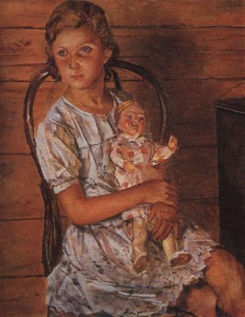 Girl with a Doll 1937 | Petrov Vodkin Kuzma Sergeevich | oil painting