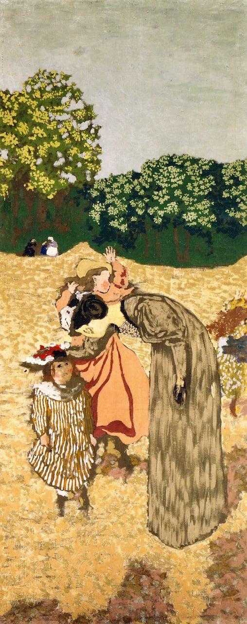 The Public Gardens The Questioning   Edouard Vuillard   oil painting