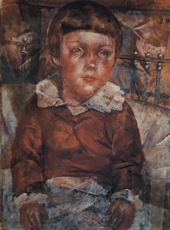 Lenushka in bed 1926 | Petrov Vodkin Kuzma Sergeevich | oil painting