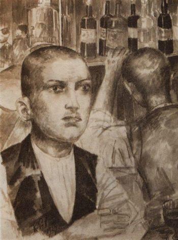 Garson Parisian cafe 1924 | Petrov Vodkin Kuzma Sergeevich | oil painting