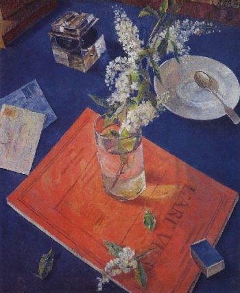 Bird cherry in a glass 1932 | Petrov Vodkin Kuzma Sergeevich | oil painting