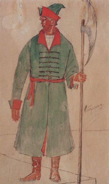 Sketch Shooter to the tragedy of Pushkins Boris Godunov 1923 | Petrov Vodkin Kuzma Sergeevich | oil painting
