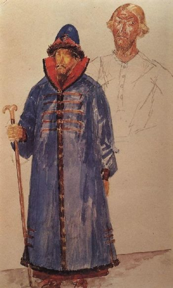 costumes and make up to the tragedy of Pushkins Boris Godunov 1923 | Petrov Vodkin Kuzma Sergeevich | oil painting