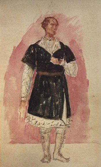 Sketch to the tragedy of Pushkin Boris Godunov 2 1923 | Petrov Vodkin Kuzma Sergeevich | oil painting