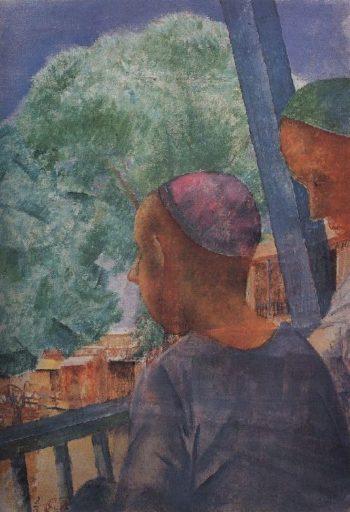 Samarkand On the terrace 1921 | Petrov Vodkin Kuzma Sergeevich | oil painting