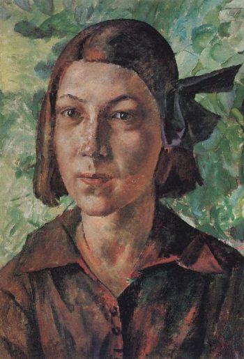 Girl in the garden 1927 | Petrov Vodkin Kuzma Sergeevich | oil painting