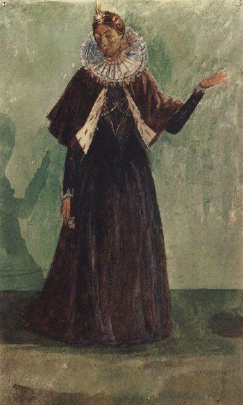 Sketch Marina Mnishek to the tragedy of Pushkins Boris Godunov 1923 | Petrov Vodkin Kuzma Sergeevich | oil painting