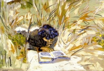 Woman Reading in the Reads Saint Jacut | Edouard Vuillard | oil painting
