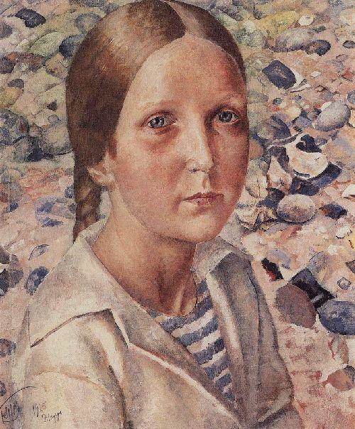 Girl on the beach 1925   Petrov Vodkin Kuzma Sergeevich   oil painting