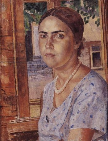 Girl at the window 1928 | Petrov Vodkin Kuzma Sergeevich | oil painting