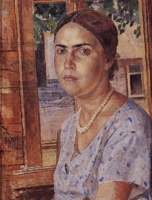 Girl at the window 1928   Petrov Vodkin Kuzma Sergeevich   oil painting