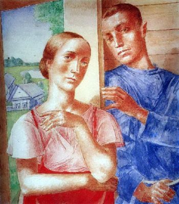 Spring in the village 2 1929 | Petrov Vodkin Kuzma Sergeevich | oil painting