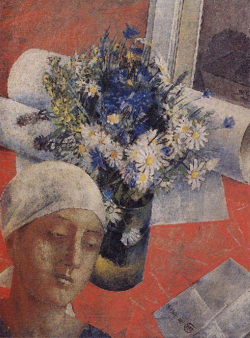 Still Life with a female head 1921 | Petrov Vodkin Kuzma Sergeevich | oil painting