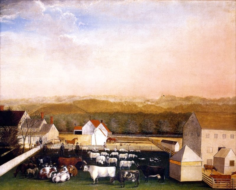 A May Morning View of the Farm and Stock of David Leedon   Edward Hicks   oil painting