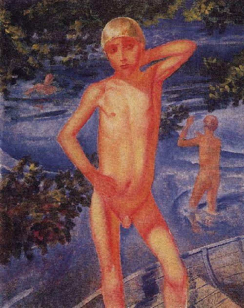 bathing boys 1926 | Petrov Vodkin Kuzma Sergeevich | oil painting