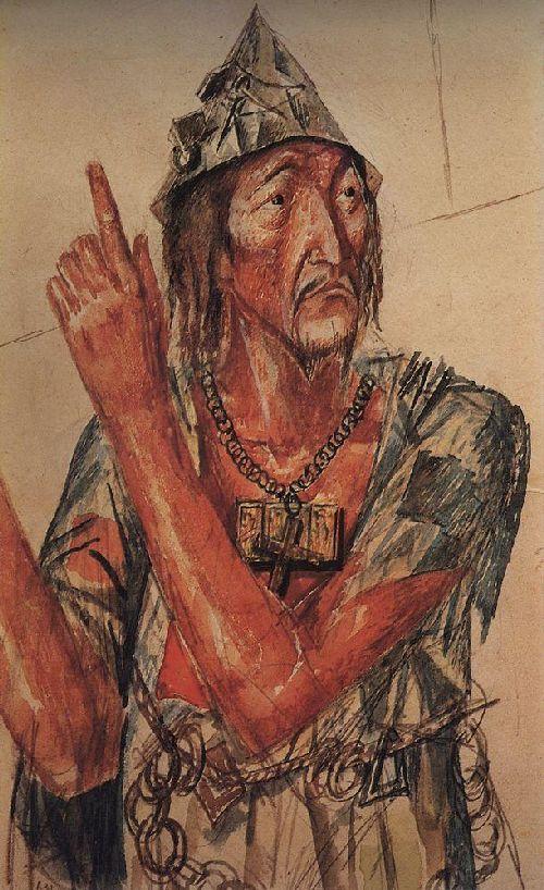 Sketch makeup fanatic to the tragedy of Pushkins Boris Godunov 1923   Petrov Vodkin Kuzma Sergeevich   oil painting