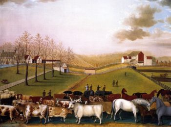 An Indian Summer View of the Farm & Stock of James C Cornell | Edward Hicks | oil painting