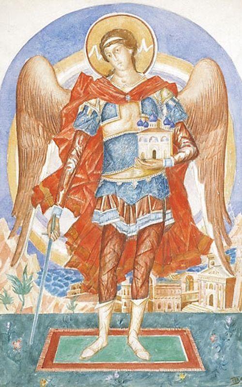 Archangel Michael 1916 | Petrov Vodkin Kuzma Sergeevich | oil painting