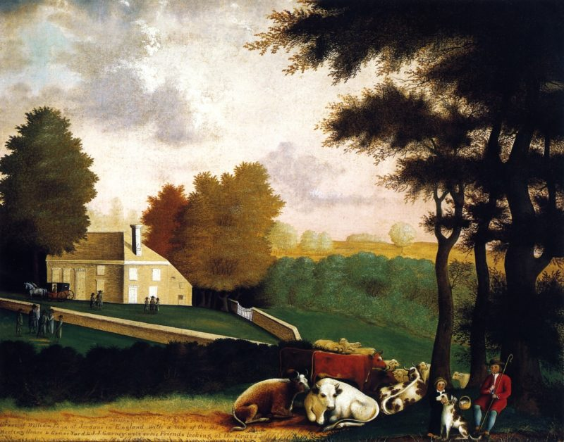 Grave of William Penn at Jordans in England | Edward Hicks | oil painting
