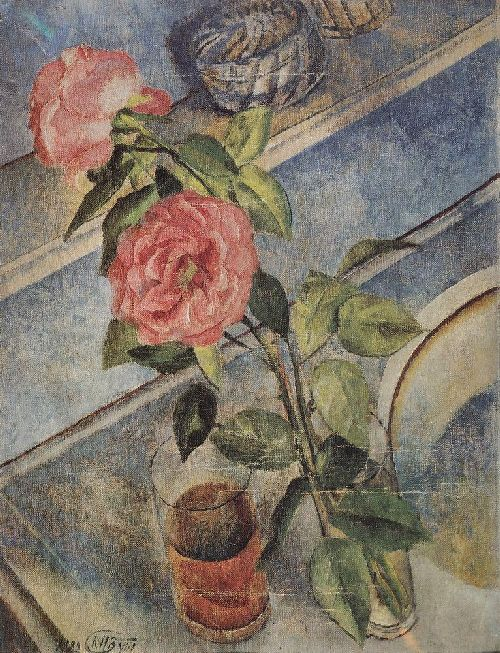 Still life with roses 1922 | Petrov Vodkin Kuzma Sergeevich | oil painting